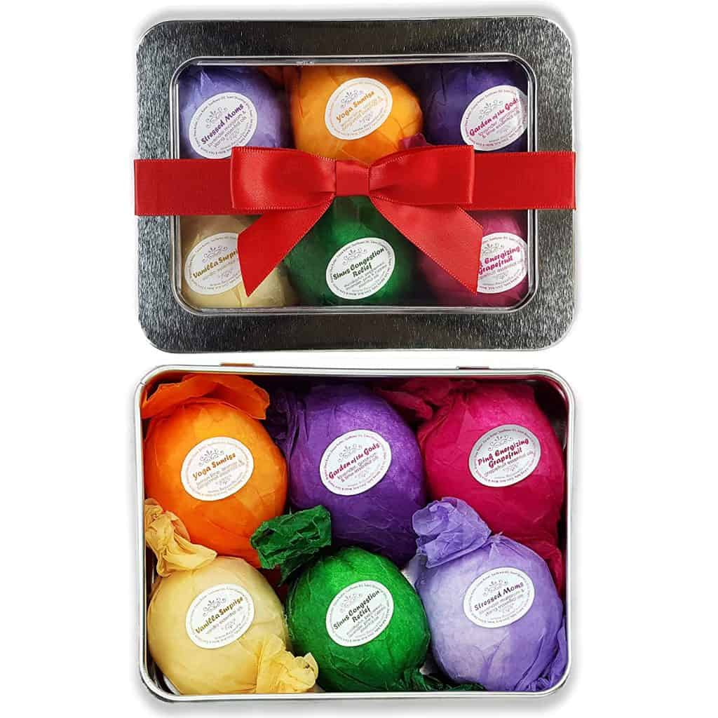 Essential oil bath bomb gift set.
