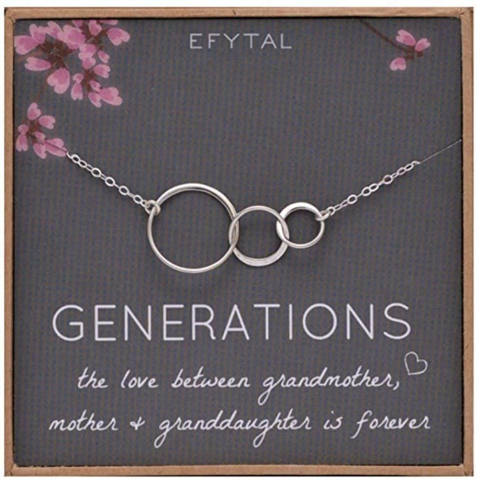 Generations necklace for grandmother, mother, and granddaughter.