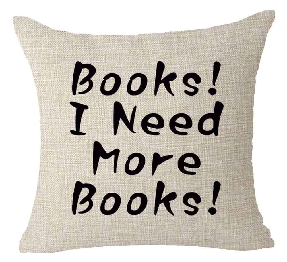I need more books throw pillow.