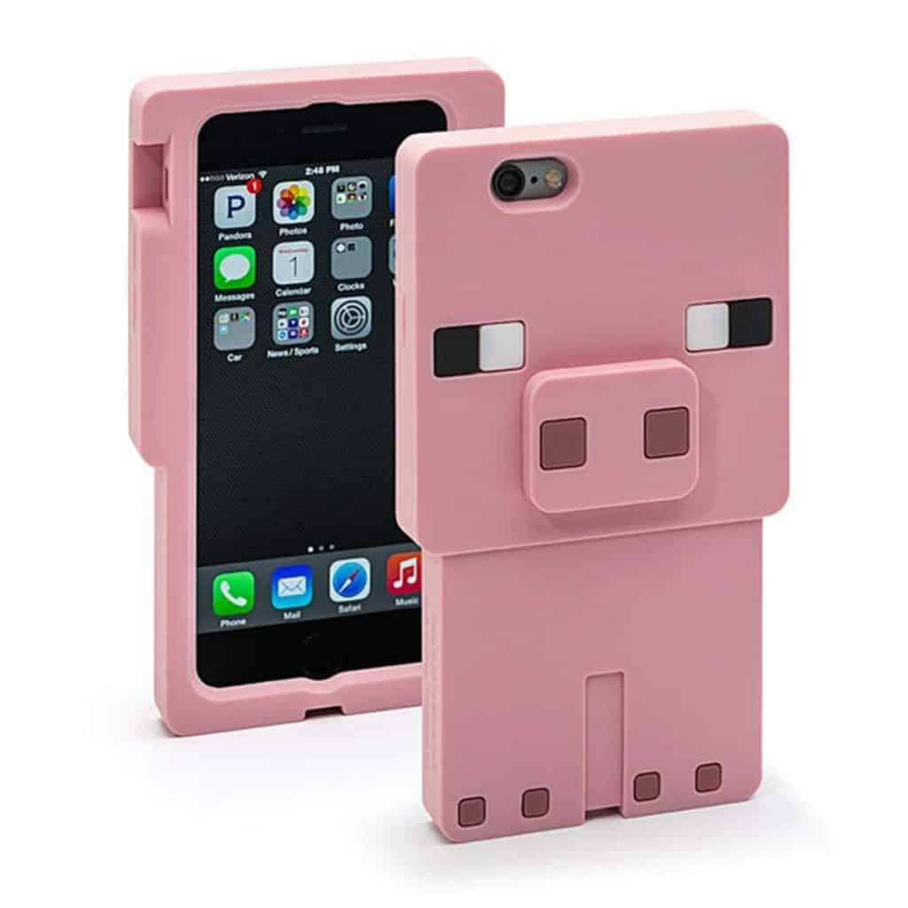 Minecraft pig character iphone case.