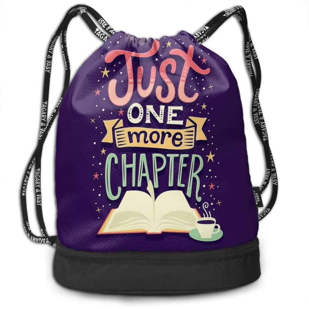 Just one more chapter tote drawstring bags.