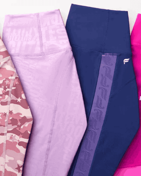 Several pink and purple leggings on sale.