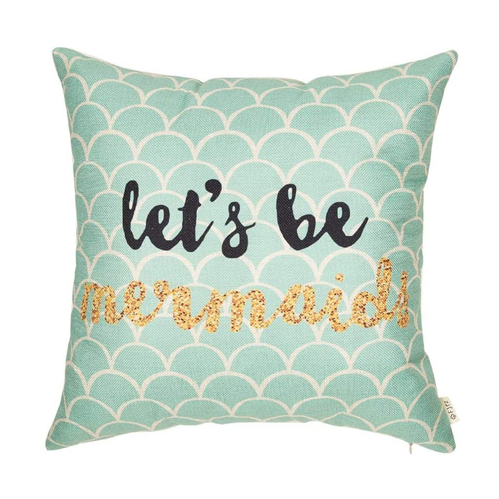 Let\'s be mermaids throw pillow.