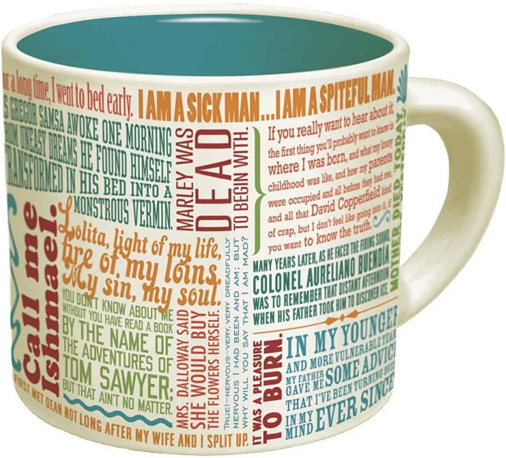 First lines of literature coffee mug.