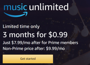 Amazon Music Unlimited 3 Months for $0.99