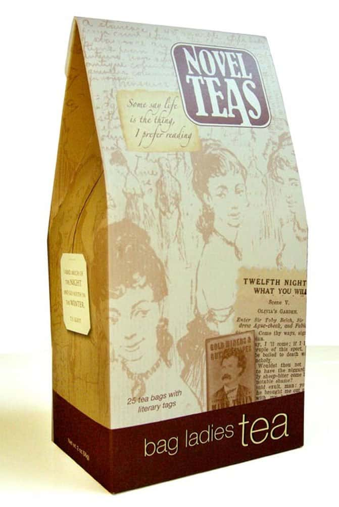 Novel teas, tea bags with literary quotes.
