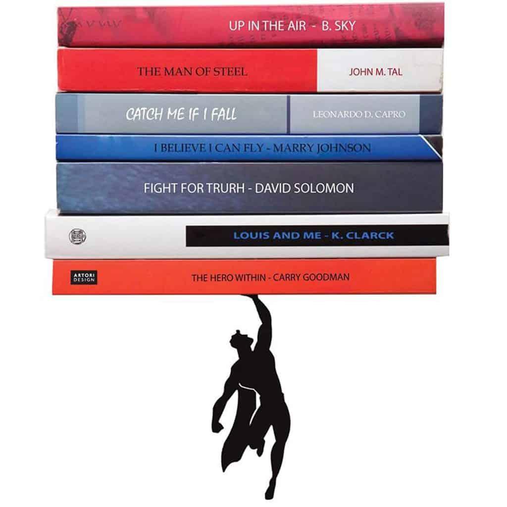 Artori superhero floating bookshelf.