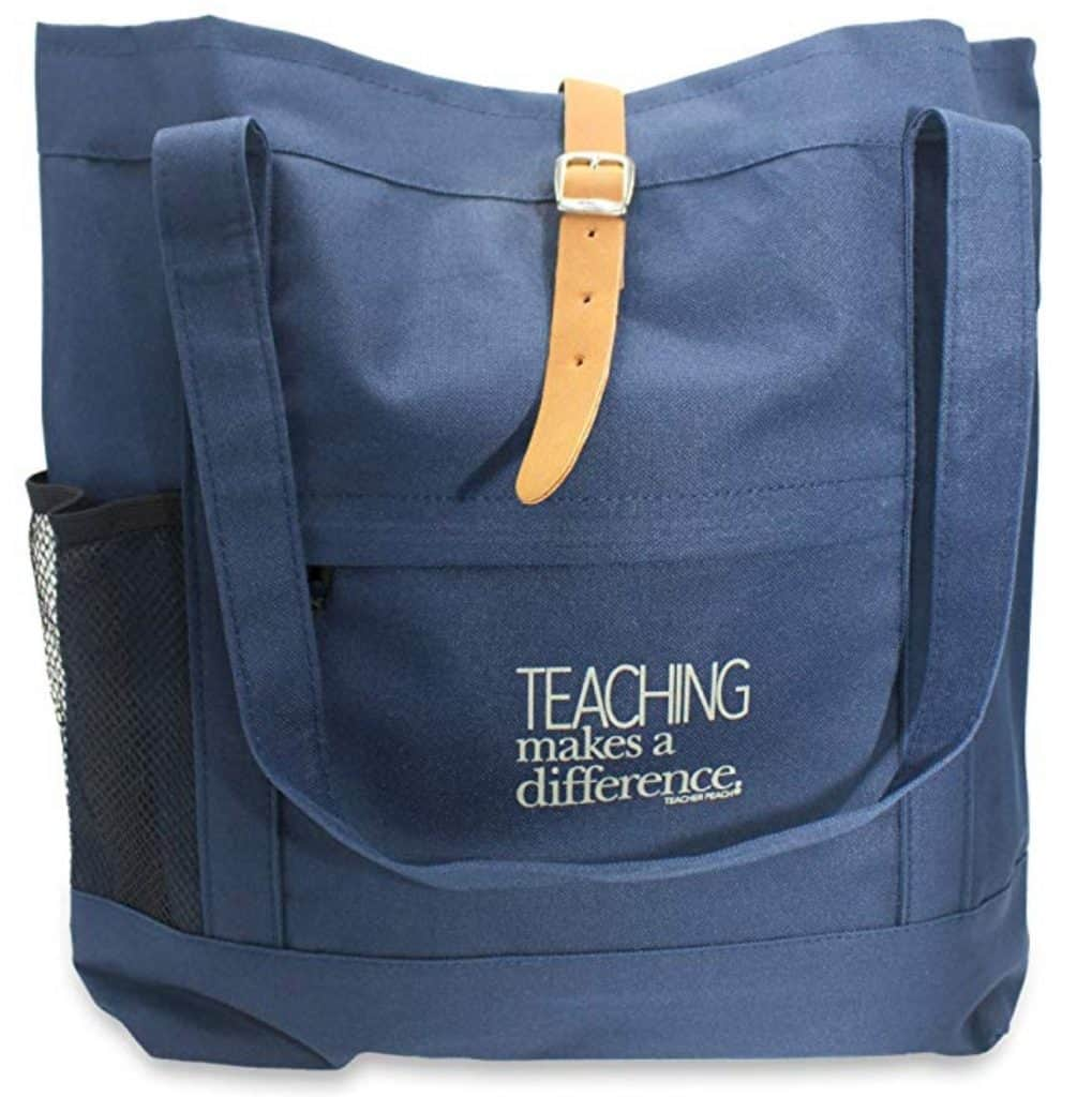 Teacher peach tote bag.