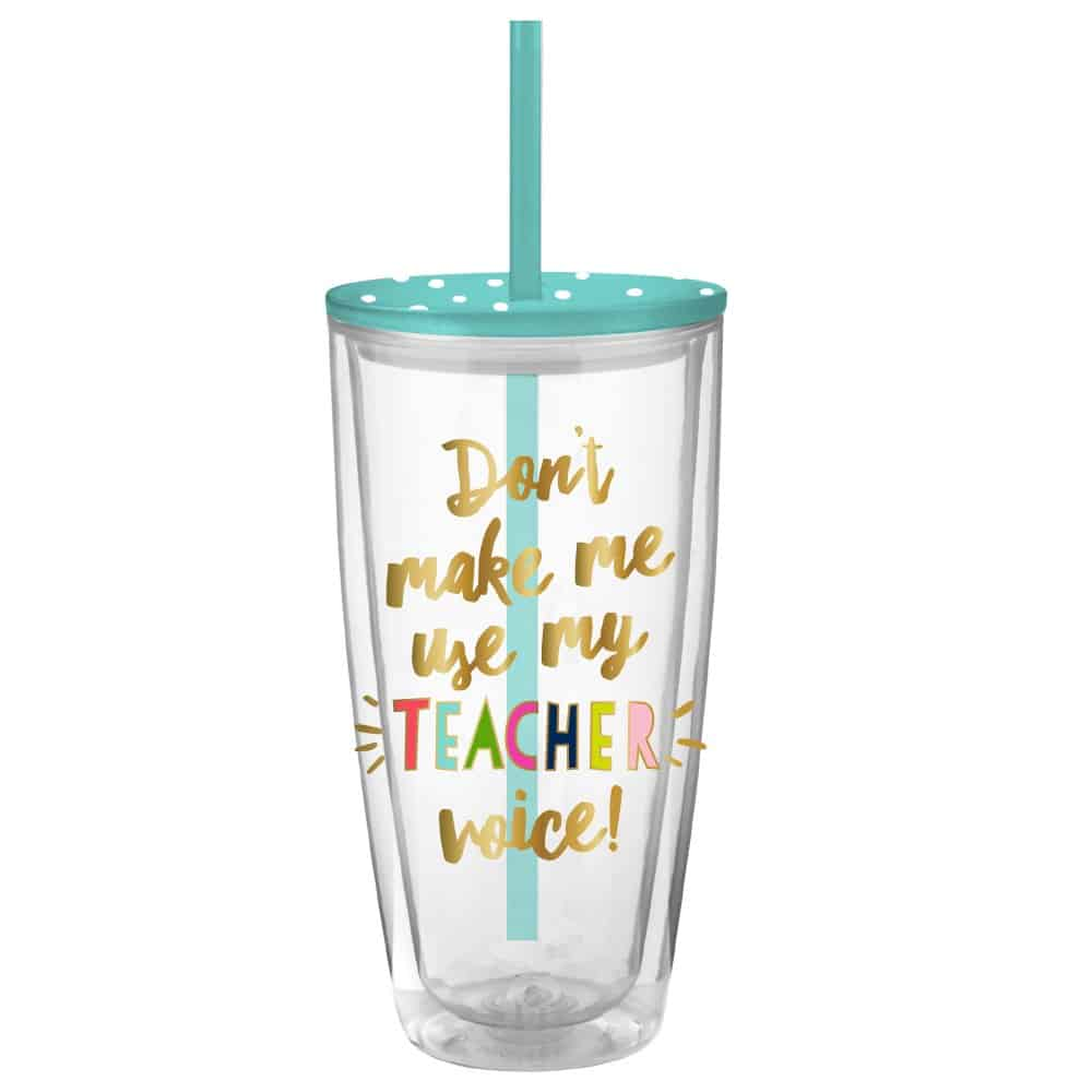 22-ounce teacher tumbler.
