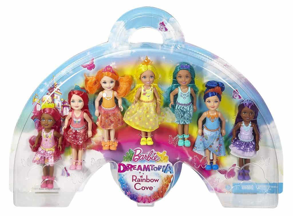 Barbie dreamtopia rainbow 7-doll set with Chelsea dolls.
