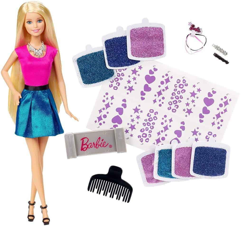 Barbie glitter hair design doll.