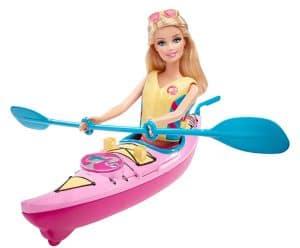Barbie beach doll and kayak.