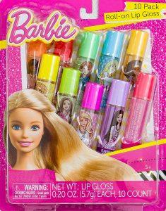 10 pack roll on Barbie lip gloss.