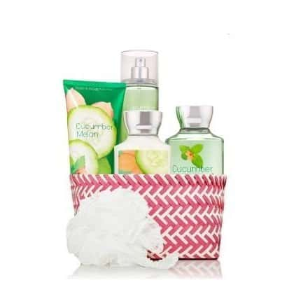 Bath and body works cucumber melon gift basket.