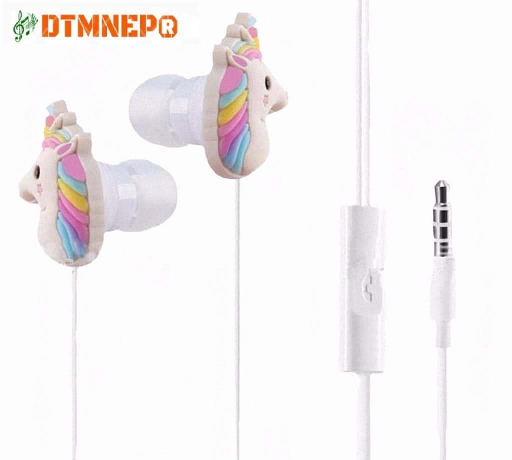 Unicorn earbud headphones.
