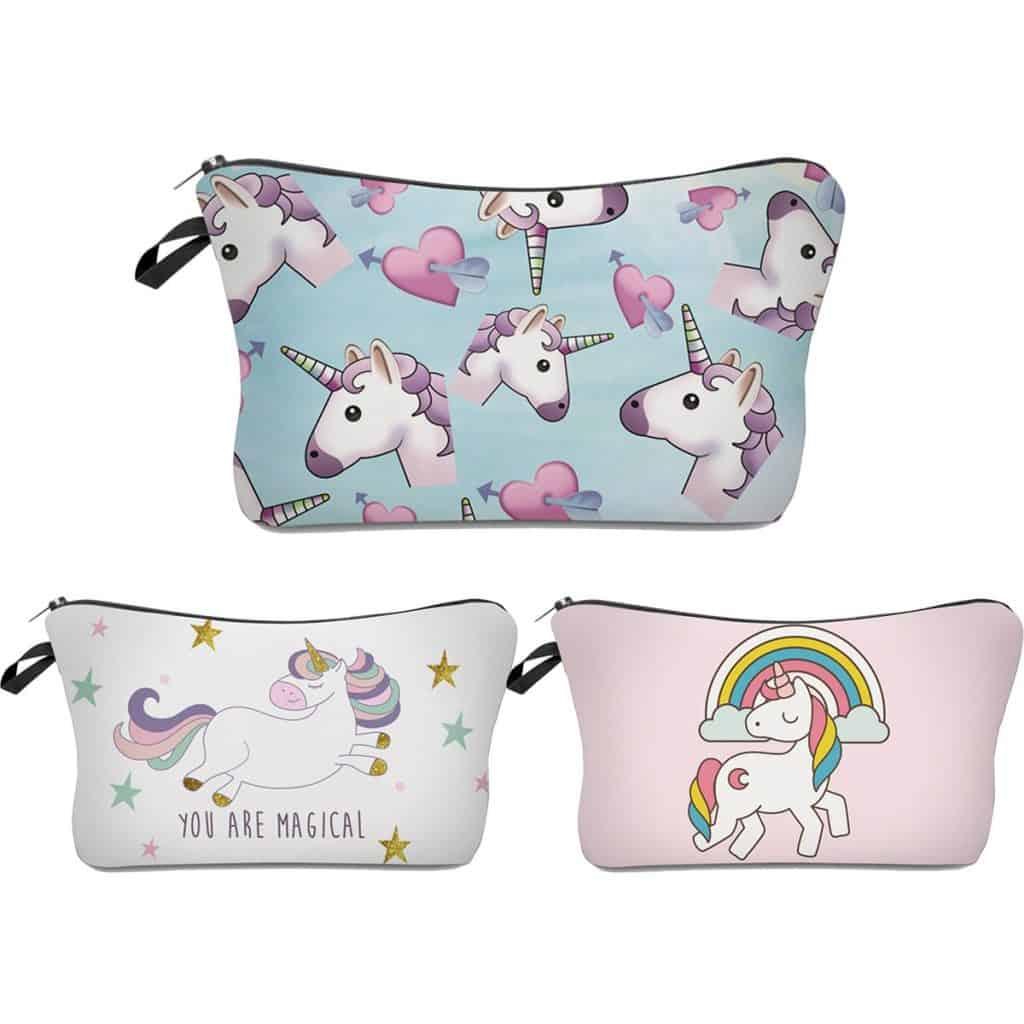 3-piece unicorn makeup bag.