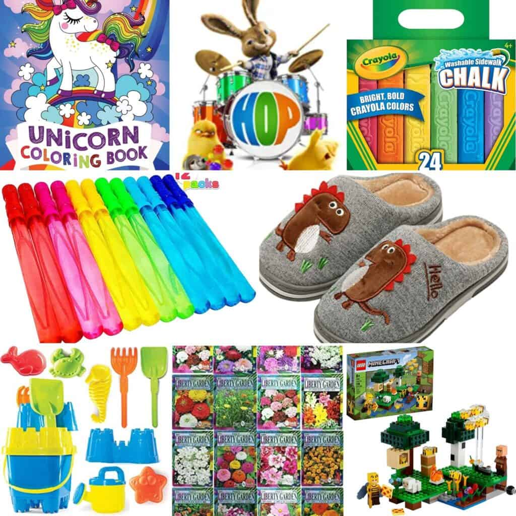 Flower seeds, LEGOS, summer toys, bubbles, slippers, and other non-candy items.