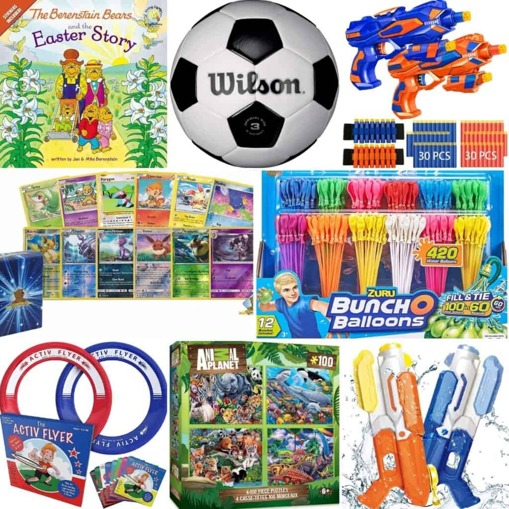 Pokemon cards, bunch-o-balloons, Activ flyer, Animal planet puzzles, and water guns.
