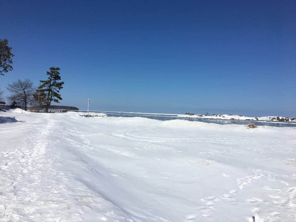 A snow covered slope in Upper Peninsula.