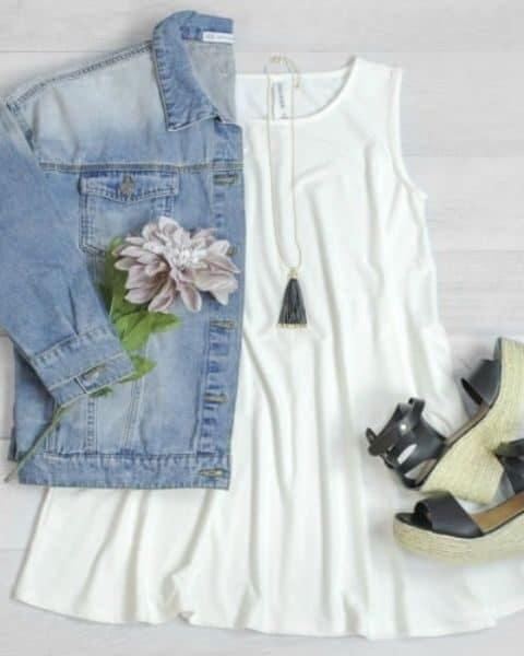 white dress, jean jacket and sandals