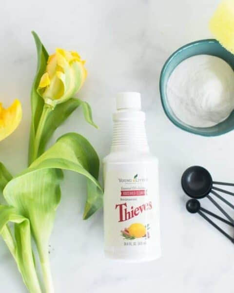 house cleaning checklist using Thieves essential oils for cleaning supplies.