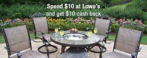Spend $10 at Lowes Get $10 Cash Back