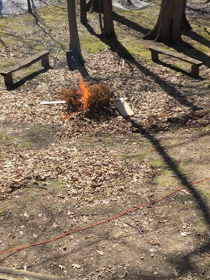 A small campfire.