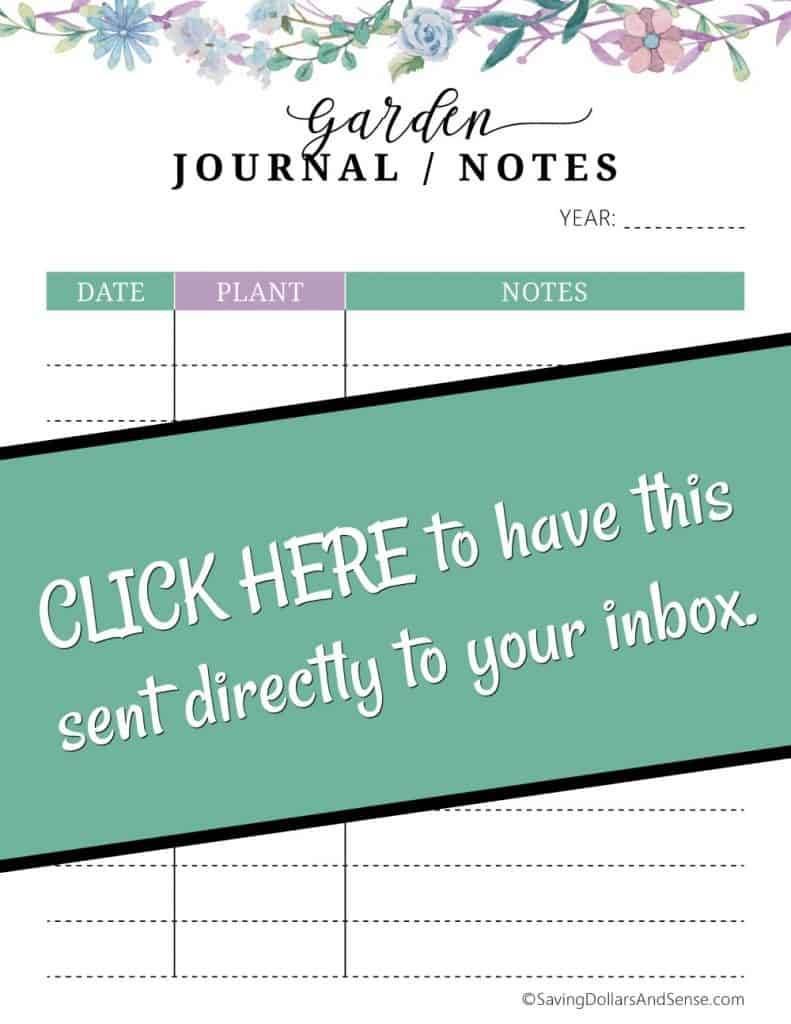 Free printable garden journal notes.