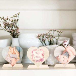 Custom Wooden Photo Hearts $9 Shipped