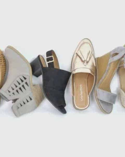 several Cents of Style shoes on a white background