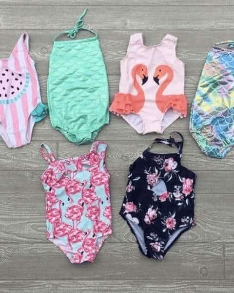 several girls one piece swim suits