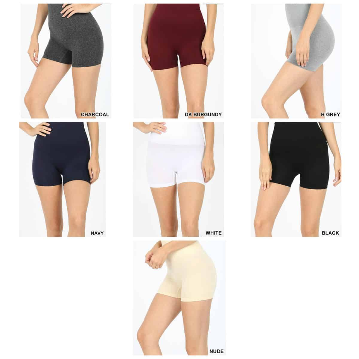 The different colors of tummy control slip shorts.