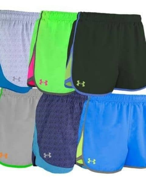 Several pair of womens Under Armour running shorts