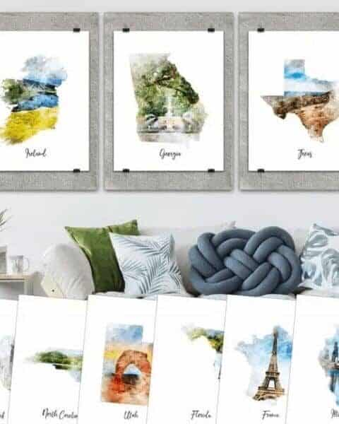 several different watercolor paintings