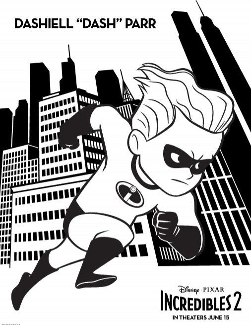 Dash coloring page from The Incredible\'s 2.