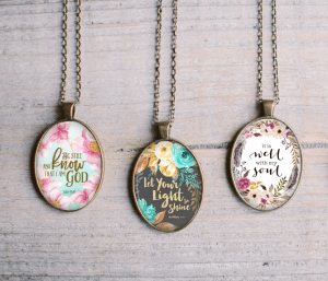 Floral Scripture Pendants $9.99 (Was $27.99)