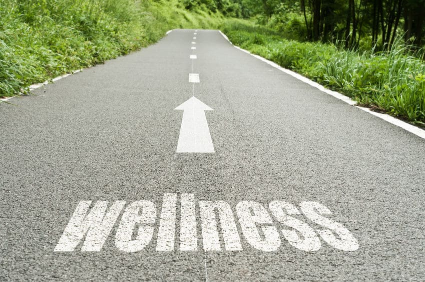 Wellness with arrow pointing down the road.