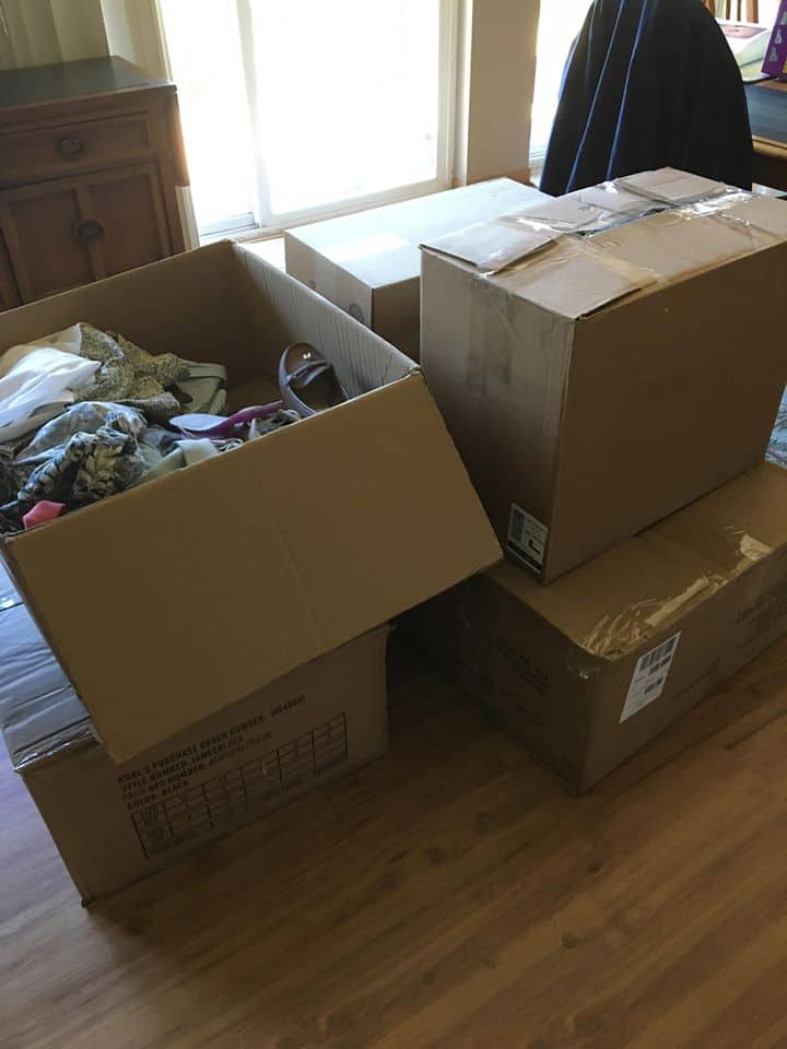 Several boxes full of stuff.
