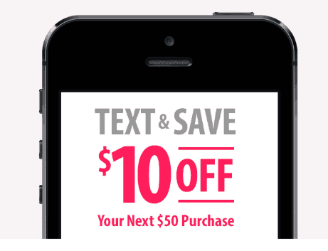 A cell phone featuring a coupon offer to save money.