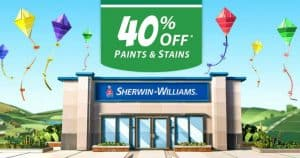 Sherwin Williams 40% Off Paints & Stains
