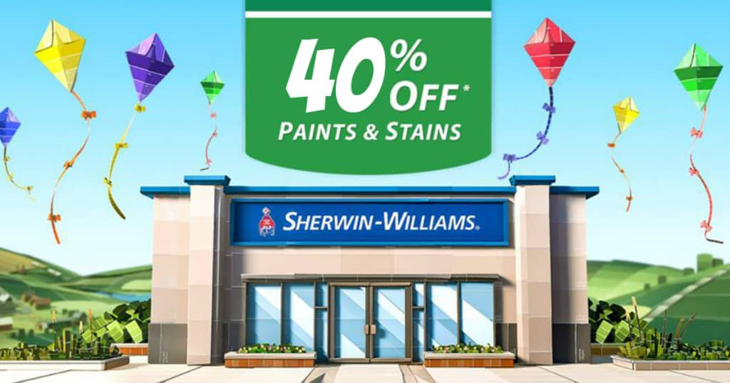 40-percent off of paints and stains at Sherwin-Williams.