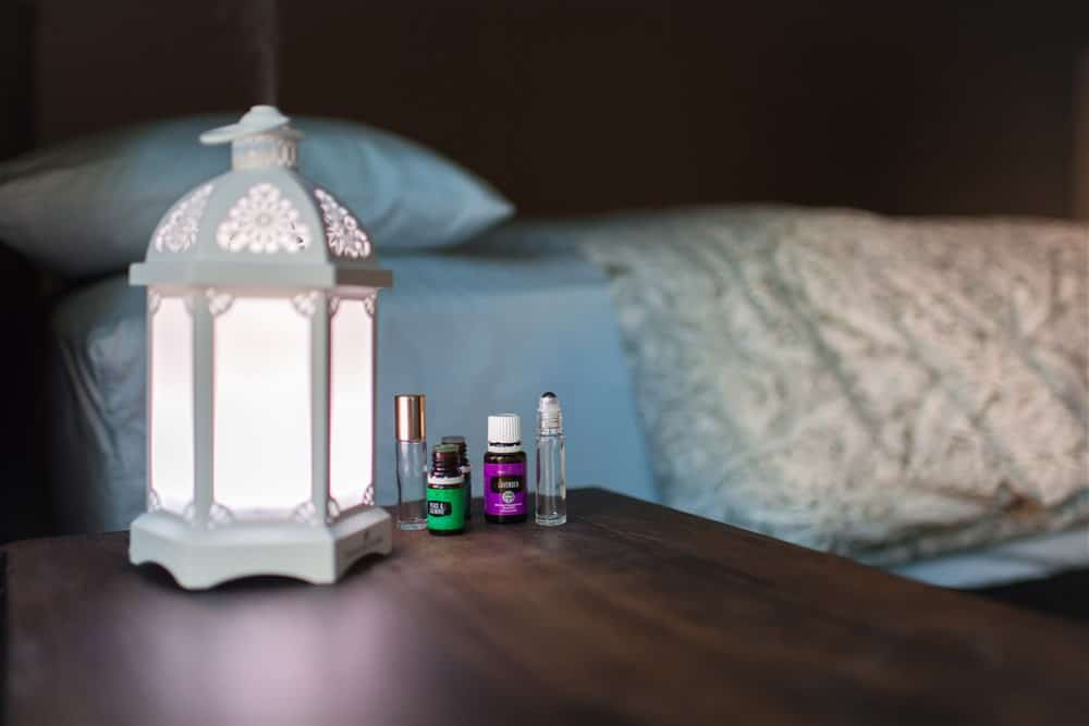 Essential Oils by bed stand. Recipes for school.