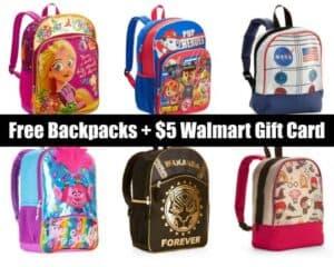 FREE Backpack + $5 Walmart eGift Card