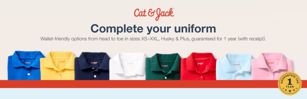 Cat and Jack school uniforms