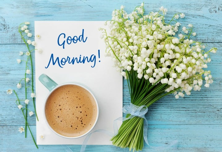Good morning sign with bundle of flowers and cup of coffee. Morning Reboot Challenge