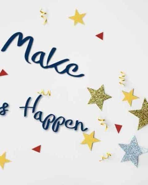 The words Make Things Happen on a white background with stars and confetti