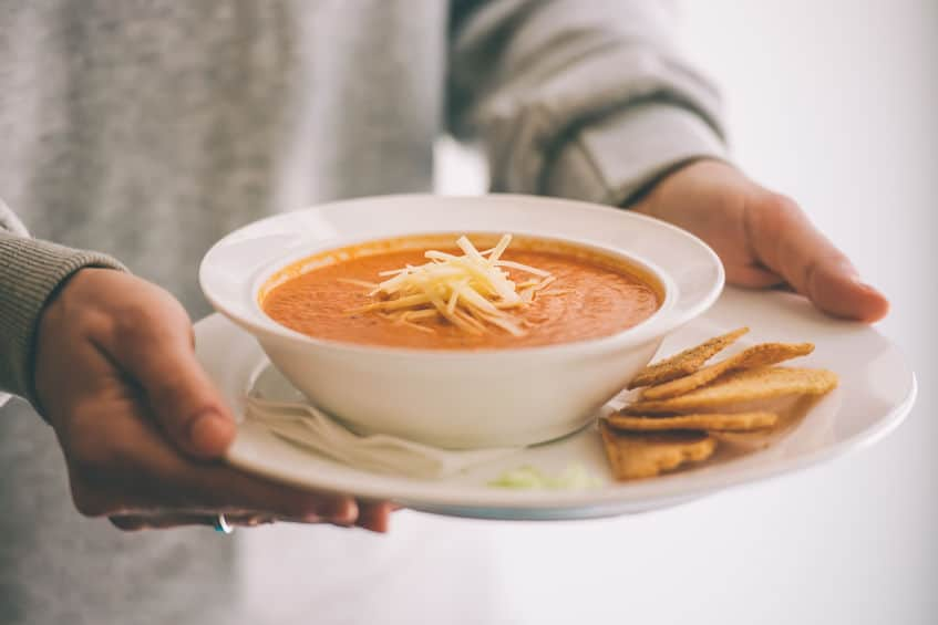 Warm winter soup and crackers from the winter pantry.