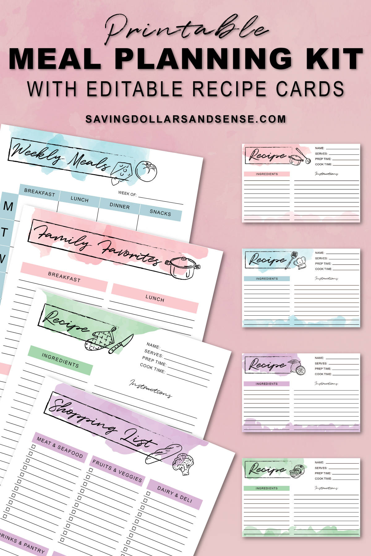 Free printable meal planning kit recipe cards.