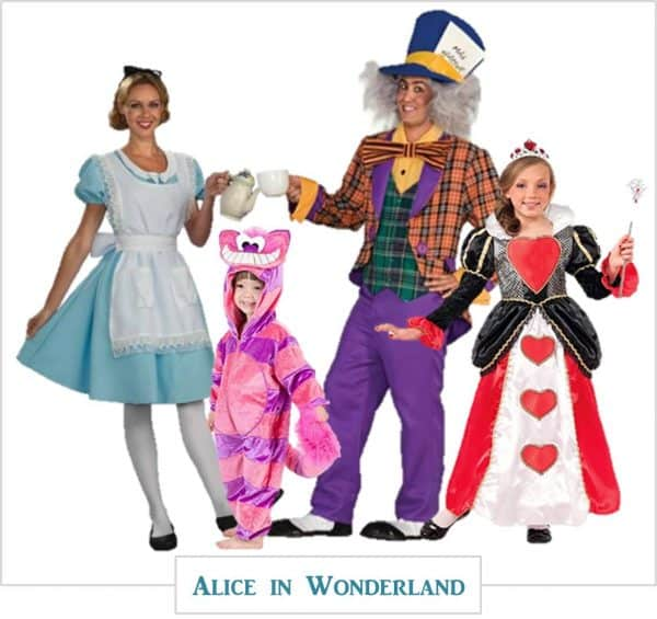 Alice in Wonderland family Halloween costumes.