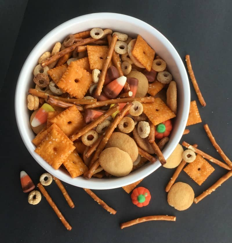 Fall train mix using pretzels, cheese crackers, and Leftover Candy Corn